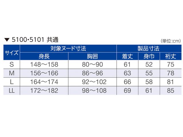 エンゼル 5100・5101共通サイズ表