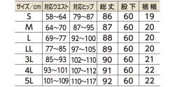 らくらくフォーマル Cラインパンツサイズ表