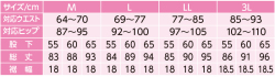 裾ファスナーパンツ サイズ表